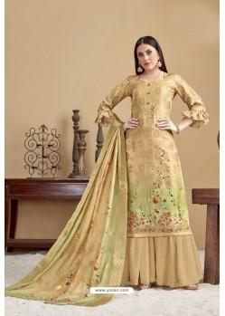 Cream Designer Banarasi Jacquard Palazzo Suit