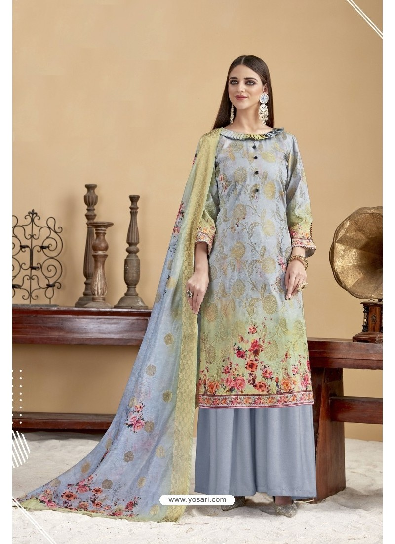 Pigeon Blue Designer Banarasi Jacquard Palazzo Suit