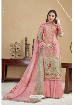 Pink Designer Banarasi Jacquard Palazzo Suit