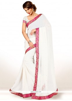 Amusing Faux Chiffon Lace Work Casual Saree