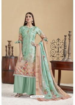 Aqua Mint Designer Banarasi Jacquard Palazzo Suit