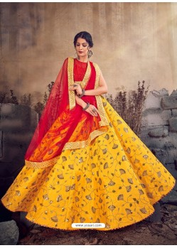 Yellow And Red Designer Malbhari Silk Zari Worked Lehenga Choli