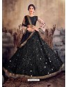 Black Designer Mono Net Zari Worked Lehenga Choli