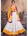 White And Yellow Designer Mono Net Zari Worked Lehenga Choli