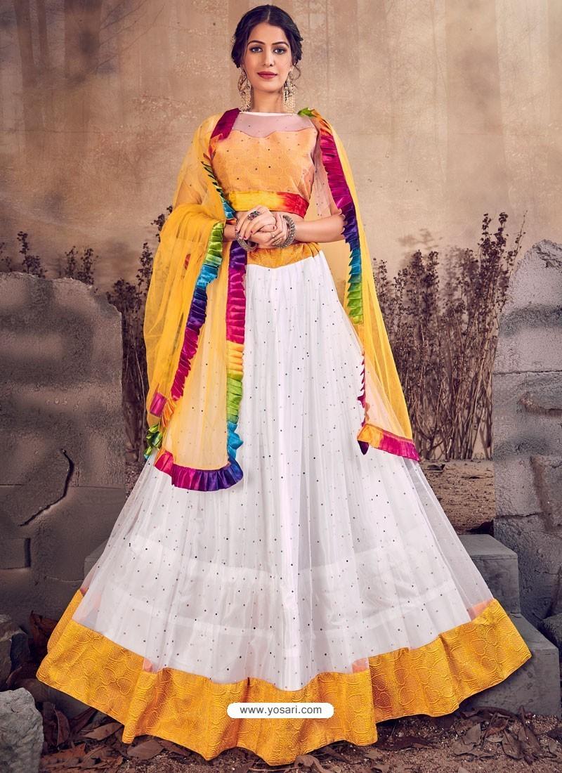 White And Yellow Designer Mono Net Zari Worked Lehenga Choli