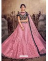 Pink And Black Designer Mono Net Zari Worked Lehenga Choli