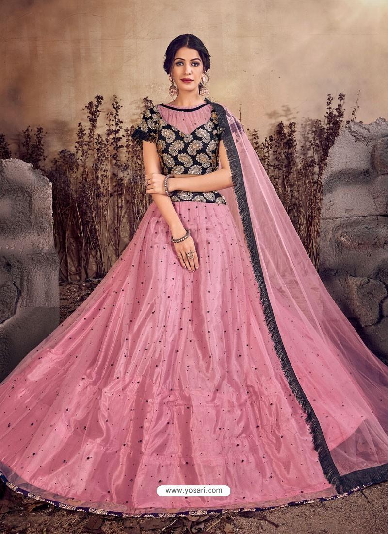 Pink And Black Designer Mono Net Zari Worked Lehenga Choli