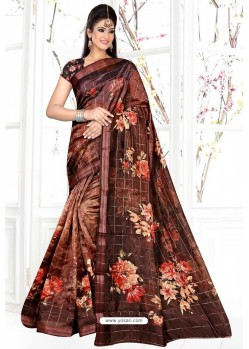 Rust Organza Silk Weaving Digital Designer Saree
