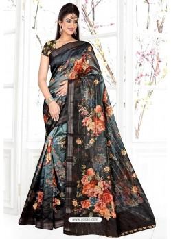 Carbon Organza Silk Weaving Digital Designer Saree