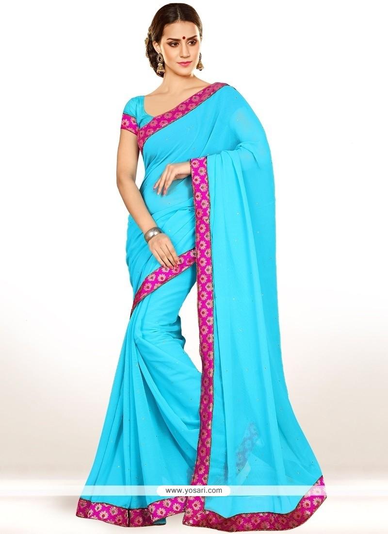 Sensational Faux Chiffon Turquoise Casual Saree