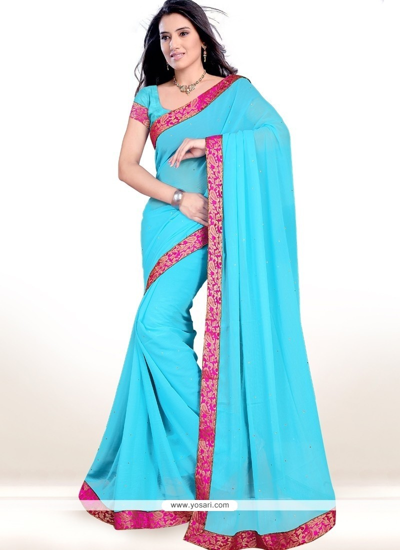 Trendy Faux Chiffon Lace Work Casual Saree