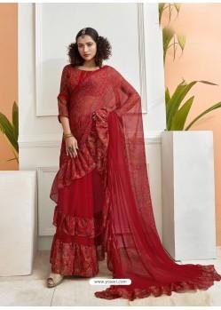 Red Designer Party Wear Chiffon Ruffle Saree