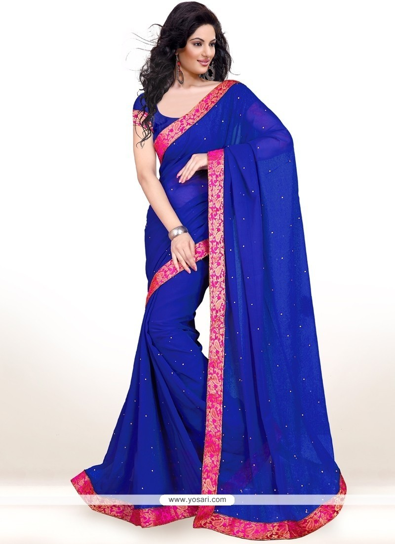 Astounding Faux Chiffon Lace Work Casual Saree