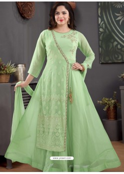 Green Georgette Readymade Heavy Designer Suit