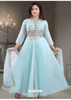 Sky Blue Georgette Readymade Heavy Designer Suit