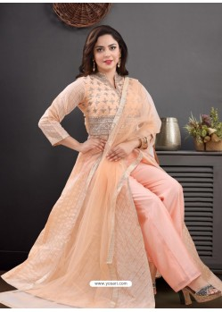 Peach Georgette Readymade Heavy Designer Suit