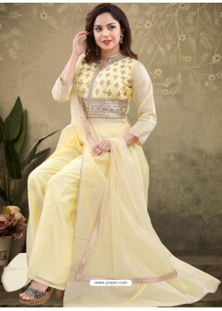 Light Yellow Georgette Readymade Heavy Designer Suit