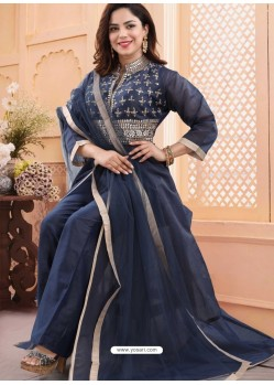 Dark Blue Georgette Readymade Heavy Designer Suit