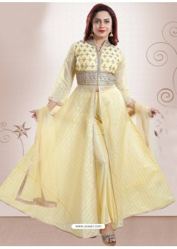 Yellow Georgette Gotta Patti Worked Heavy Designer Suit
