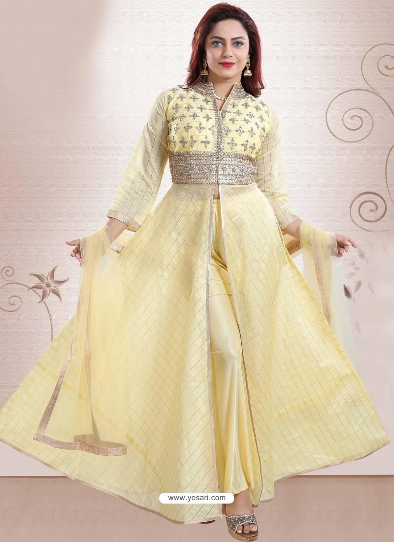 Yellow Georgette Gotta Patti Worked Heavy Designer Suit