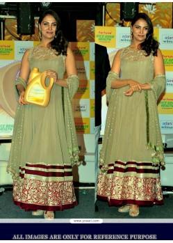 Lara Dutta Green Embroidery Anarkali Suit