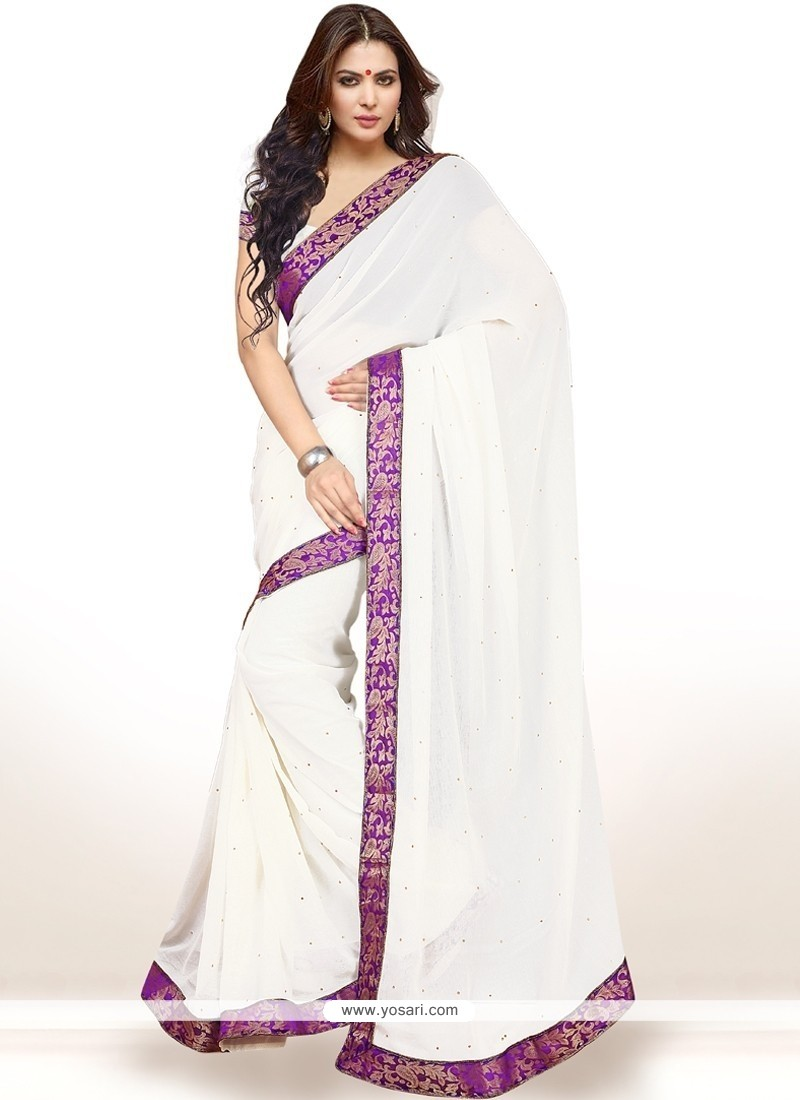 Tempting Faux Chiffon White Casual Saree
