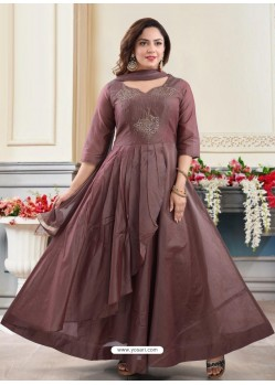 Coffee Brown Georgette Readymade Heavy Designer Suit