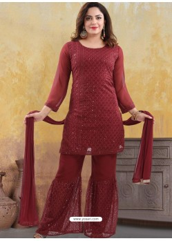Maroon Georgette Readymade Heavy Designer Suit