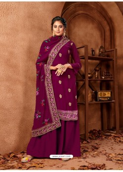 Purple Designer Faux Georgette Embroidered Palazzo Suit