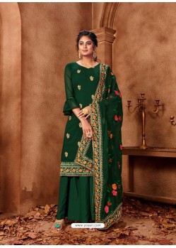 Dark Green Designer Faux Georgette Embroidered Palazzo Suit