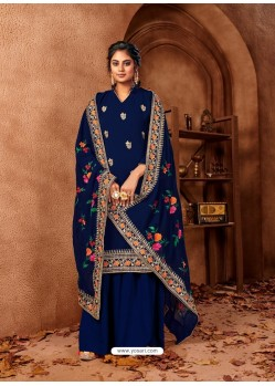 Navy Blue Designer Faux Georgette Embroidered Palazzo Suit