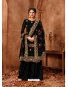 Black Designer Faux Georgette Embroidered Palazzo Suit