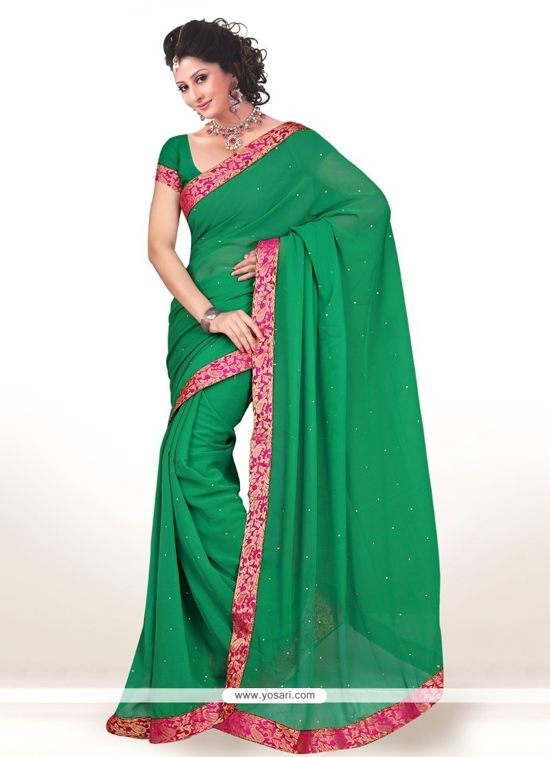Marvelous Faux Chiffon Lace Work Casual Saree