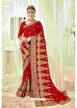 Flawless Red Designer Heavy Embroidered Wedding Saree
