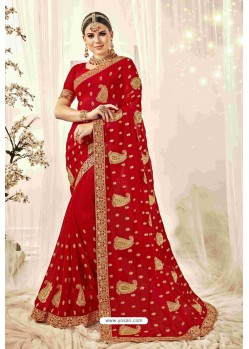 Delightful Red Designer Heavy Embroidered Wedding Saree