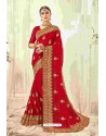 Elegant Red Designer Heavy Embroidered Wedding Saree