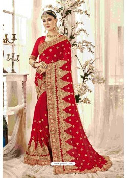 Adorable Red Designer Heavy Embroidered Wedding Saree