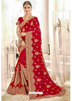 Fascinating Red Designer Heavy Embroidered Wedding Saree