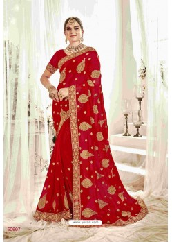 Lovely Red Designer Heavy Embroidered Wedding Saree