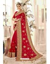 Incredible Red Designer Heavy Embroidered Wedding Saree