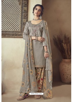 Grey Pure Zam Cotton Patiala Salwar Suit