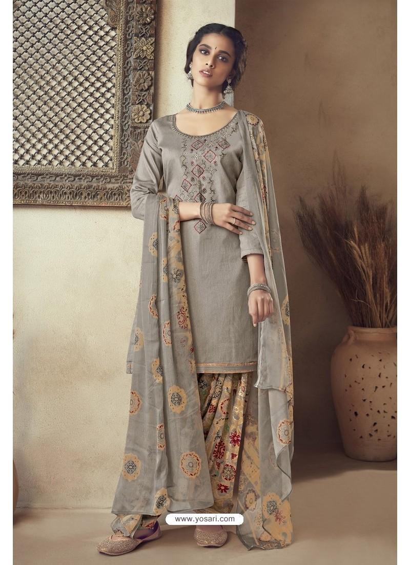 Grey Pure Zam Cotton Patiala Salwar Suit