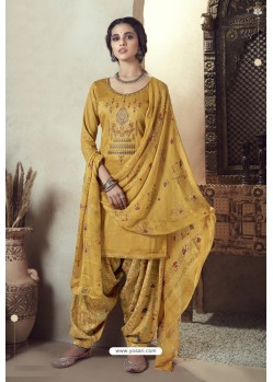 Yellow Pure Zam Cotton Patiala Salwar Suit