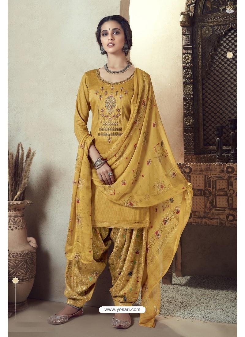Yellow Pure Zam Cotton Patiala Salwar Suit