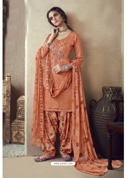 Orange Pure Zam Cotton Patiala Salwar Suit