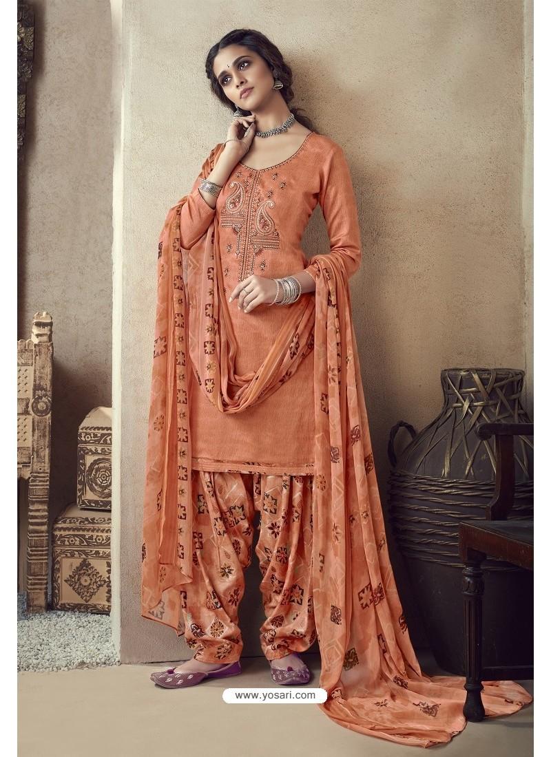 Orange Pure Zam Cotton Patiala Salwar Suit