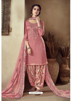 Peach Pure Zam Cotton Patiala Salwar Suit
