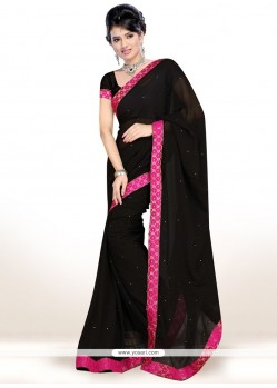 Delightsome Faux Chiffon Lace Work Casual Saree
