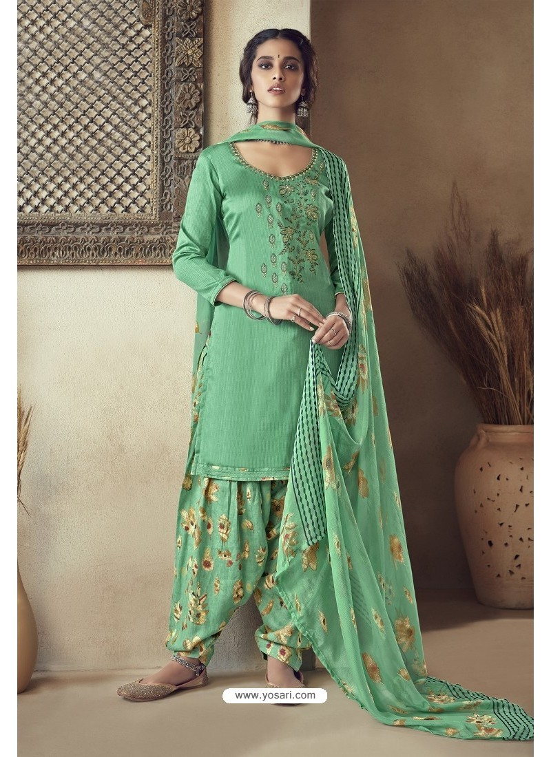 Jade Green Pure Zam Cotton Patiala Salwar Suit