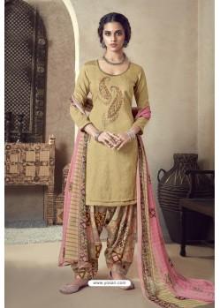 Beige Pure Zam Cotton Patiala Salwar Suit